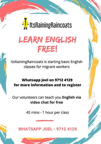 ItsRainingRaincoats_Learn English Poster