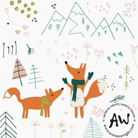 Winter Woodland Surface Design Collection