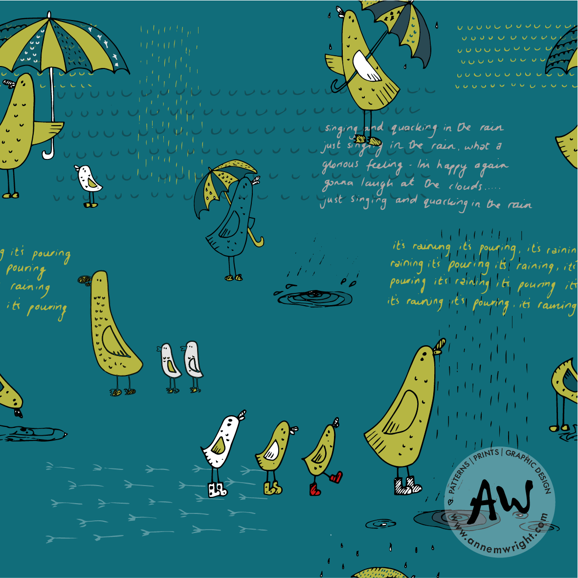 Nice Weather for Ducks Surface Pattern Design
