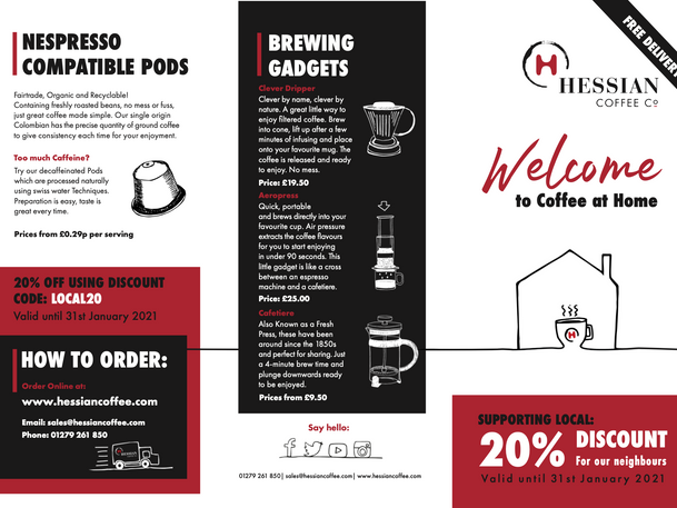 Hessian Coffee For Home Leaflet