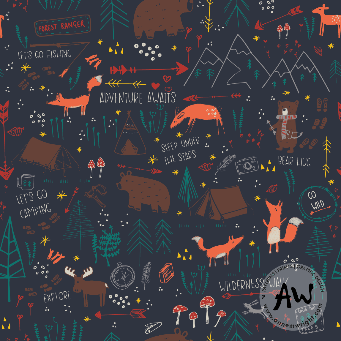 Woodland Friends Surface Design Collection