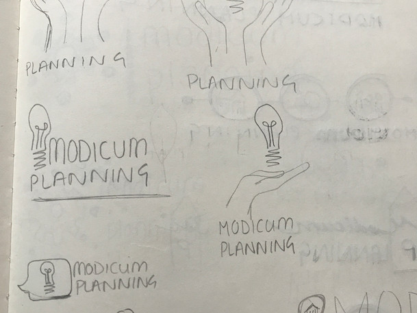 Early logo thumbnails in sketchbook