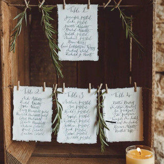 Hand written table cards