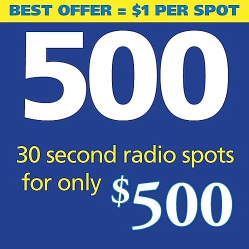 500 thirty second radio spots