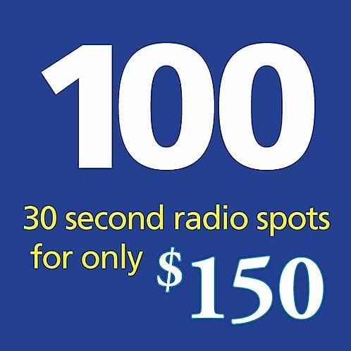 100 thirty second radio spots