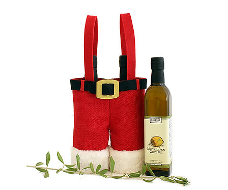 2 Bottle Jute Bottle Bag - Holiday Santa Pants