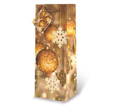Printed Paper Wine Bottle Bag - Festive Holidays