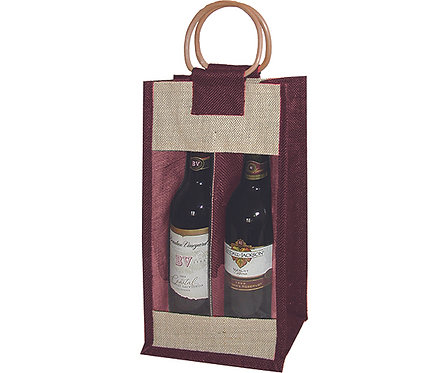 2 Bottle Jute Bag - Burgundy with Windows