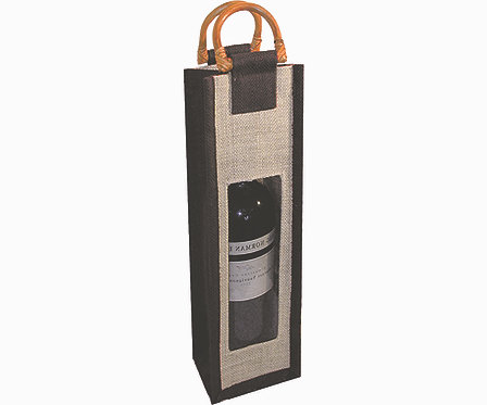 Jute Wine Bottle Bag - Black with Window