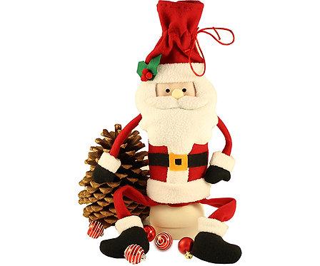 Plush Wine Bottle Bag - Sitting Santa