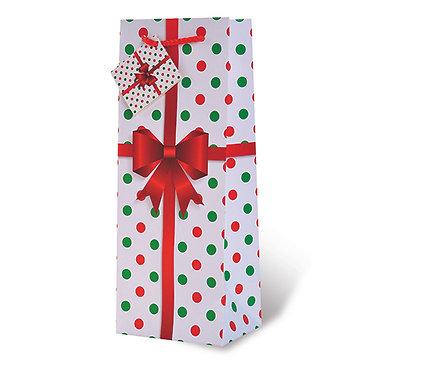 Printed Paper Wine Bottle Bag - Polka Dots