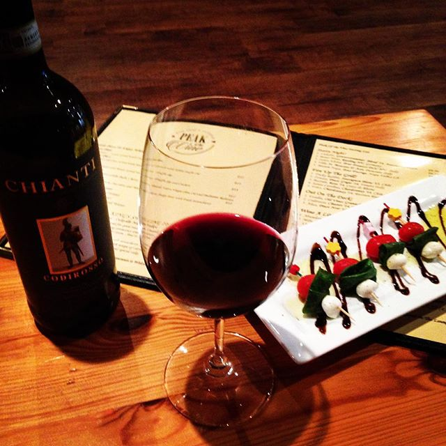 On Gloomy Day like this nothing feels better then Glass of Chianti and Fresh Made Caprese Skewers