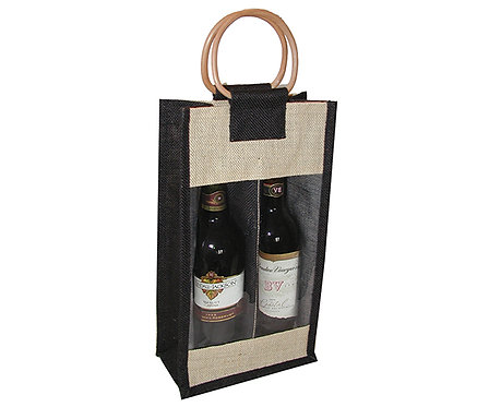 2 Bottle Jute Bag - Black with Windows