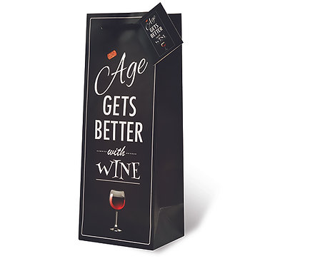 Printed Paper Wine Bottle Bag - Age Gets Better With Wine