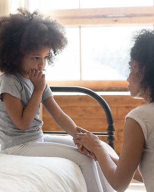 Caring worried african american mother h