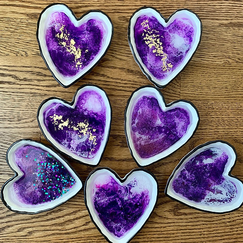 Heart Trinket Dish (Purples)