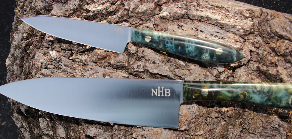 Knife Pic Levi Cochran NHB Stainless steel Hand forged kitchen knives and tools. High quality stainless steel, carbon steel, damascus steel, copper ladles. Always American made. Knives for veggie prep.
