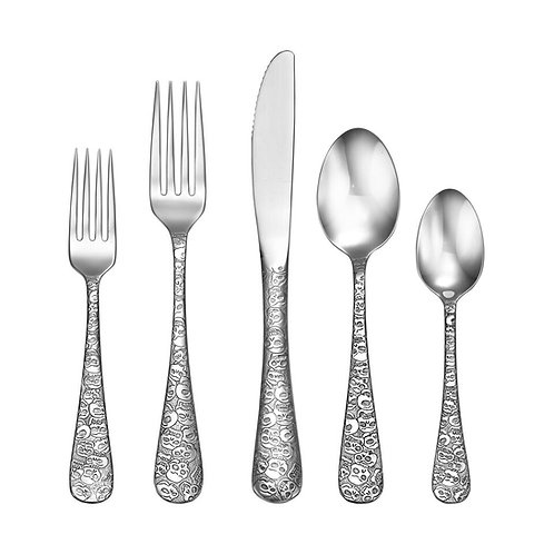 """Skull"" Pattern Flatware, Serves 12"