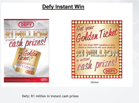 "Defy ""Golden Ticket"" campaign"