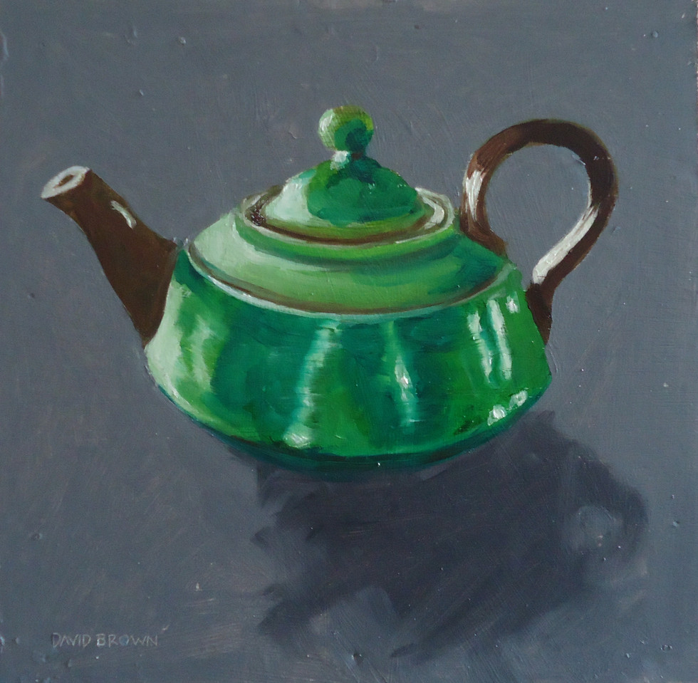 Small green teapot  By David Brown