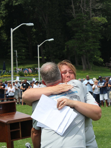 Melissa Volkers hugging Jim Day