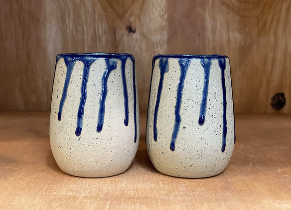 Sapphire Blue Drips Stemless Wine Glasses