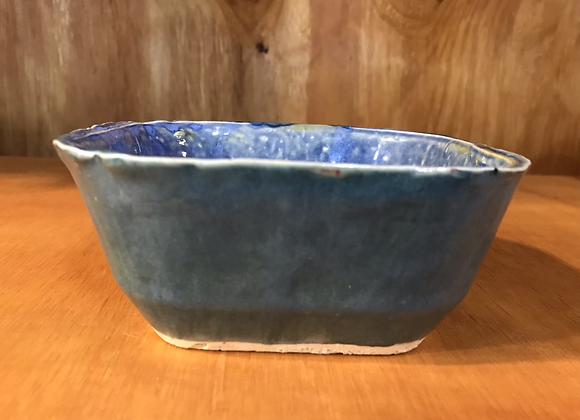 Shades of Blue Square Bowl w/ a Twist