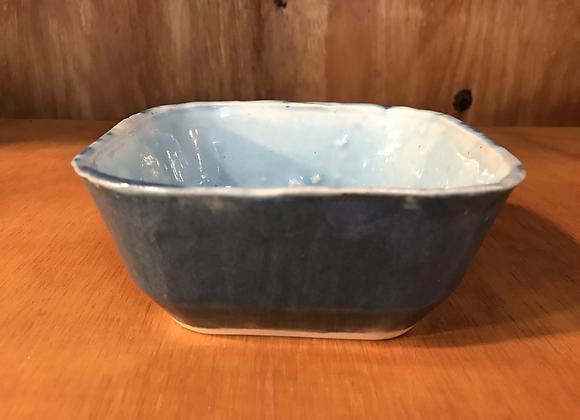 Shades of Blue Square Bowl w/ a Twist