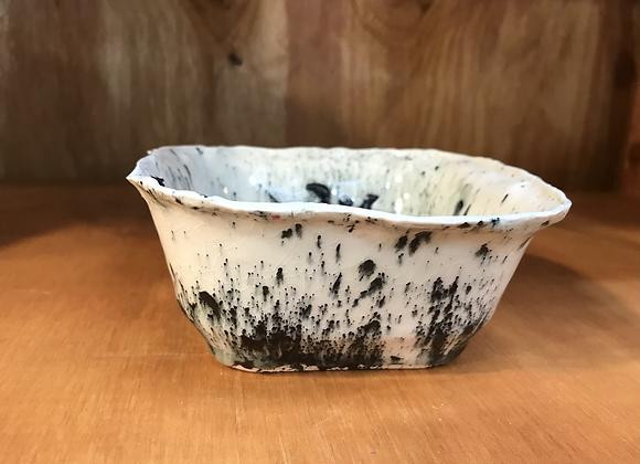 B/W Splattered Square Bowl