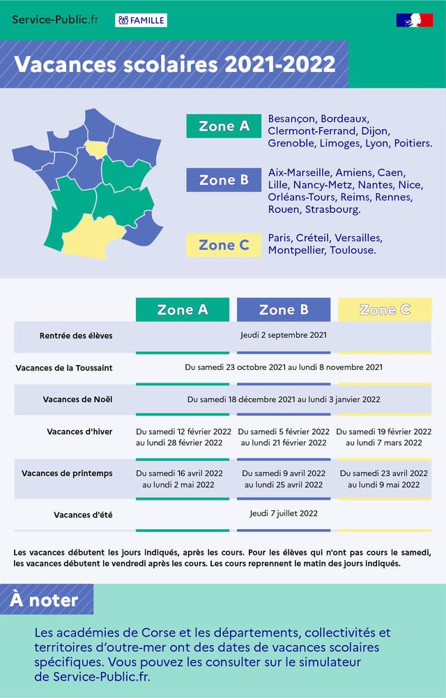 Vacances scolaires 2021 - 2022