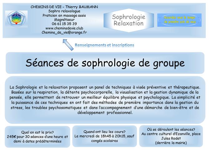 Séances de groupe de sophrologie à EZANVILLE