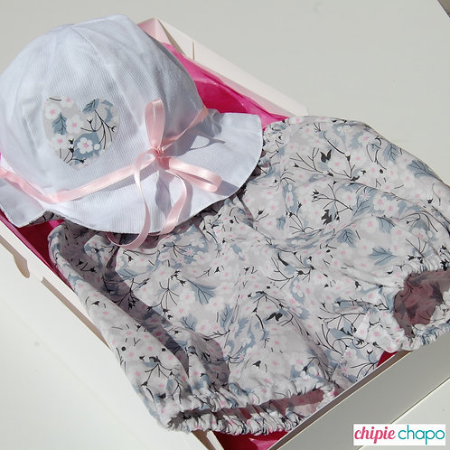 "Box bloomer + chapeau ""Mitsi gris"""