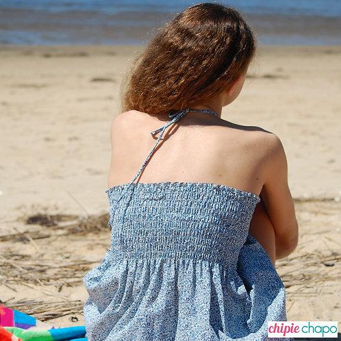 Robe courte à smocks en coton liberty