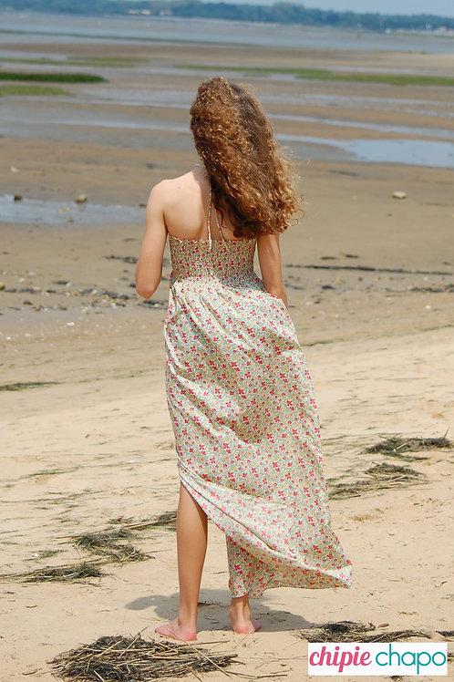 Robe longue à smocks en coton liberty