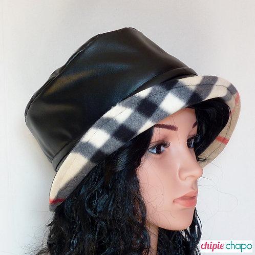 Chapeau de pluie noir doublé polaire