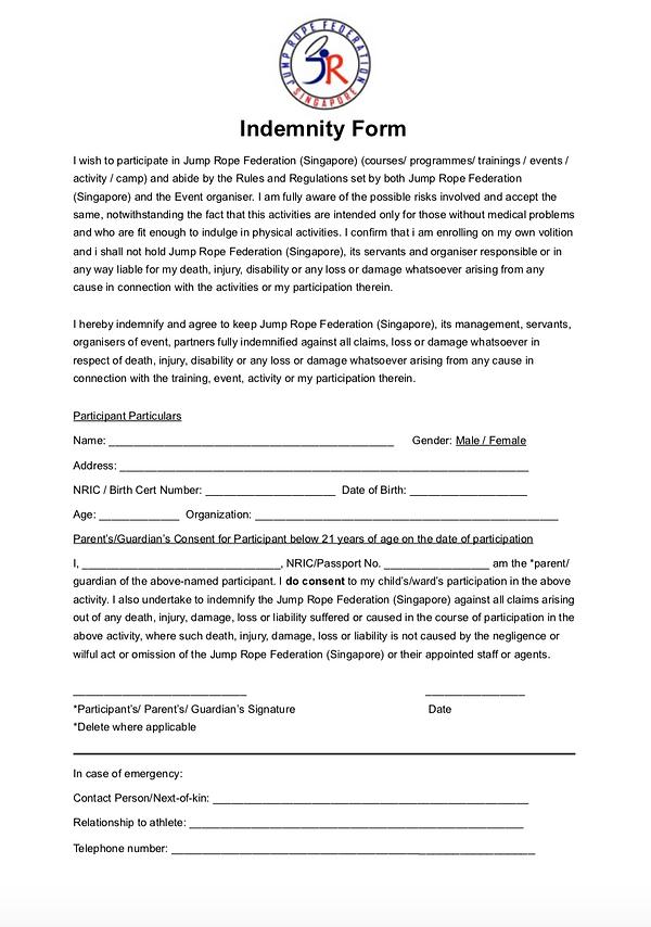 JRFS Indemnity Declaration form page 1.p