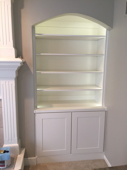 Custom wooden book case with cabinet underneath