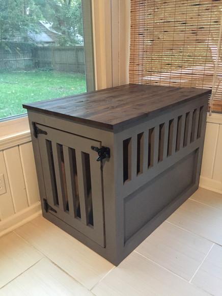 Custom wood dog kennel