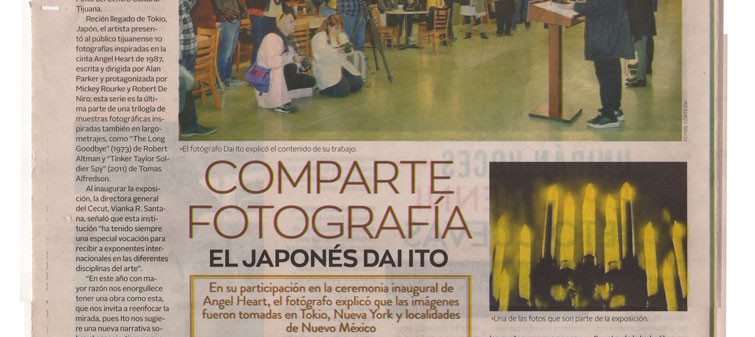 "My exhibition ""Angel Heart"" is published on Newspaper ""El Imparcial, Tijuana"""