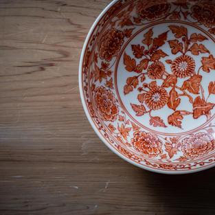 九谷赤絵牡丹鉢