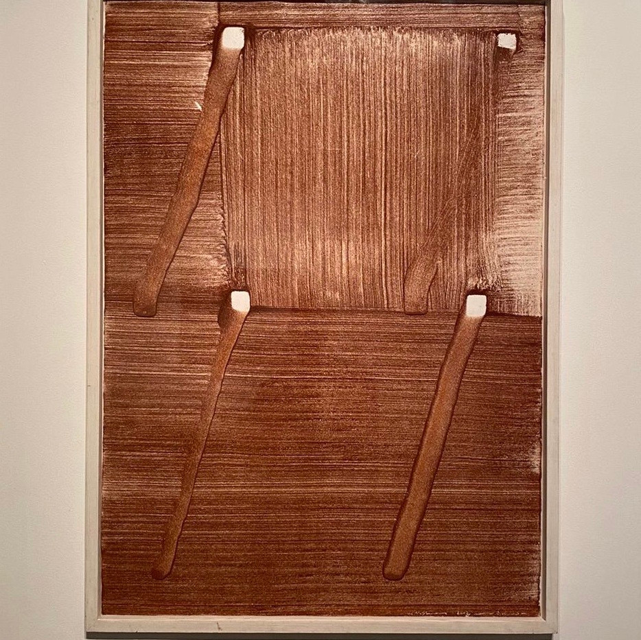 Micha Ullman, Chair, 2002, red sand on paper, 100/70cm