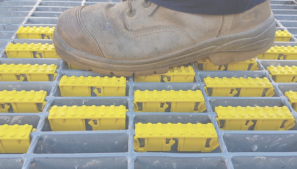 "Grate Cleat anti slip, non slip tread on 100mm - 4"" metal grating."