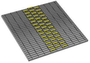 1m x1m 3 wide offset pattern