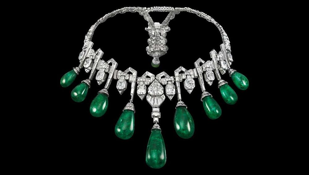 Collar de esmeraldas y diamantes de la princesa Faiza