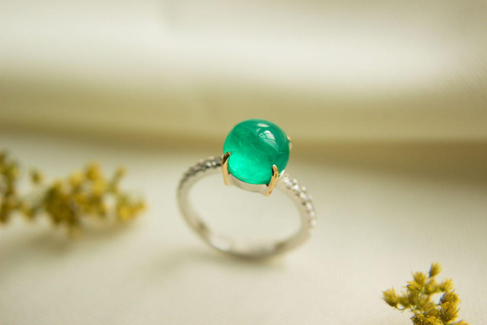 Colombian Emerald Engagement Ring