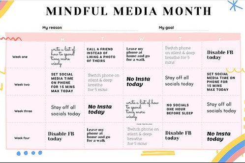 Mindful media month calendar