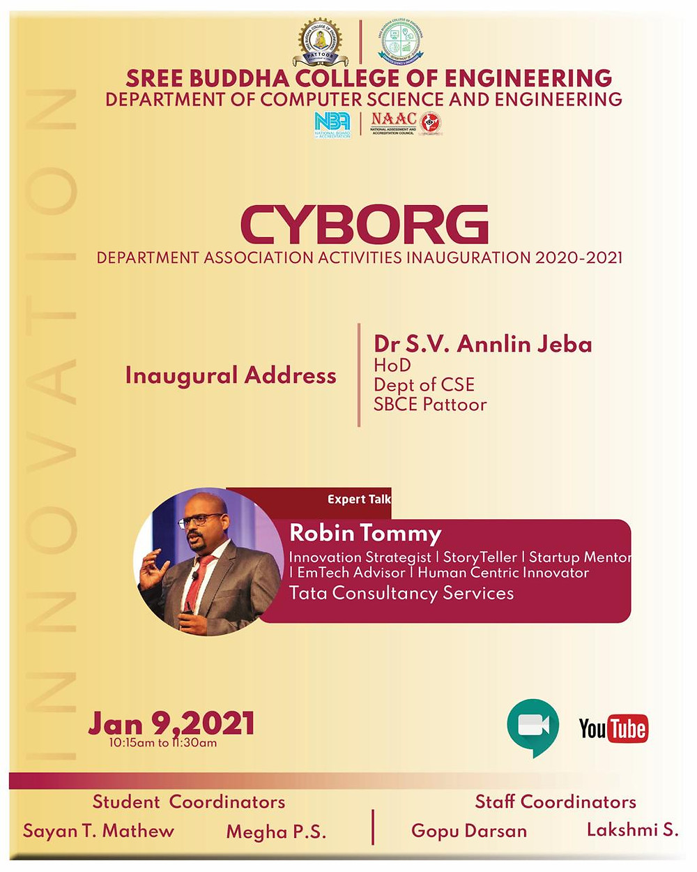 Talk by Robin Tommy at Cyborg - Sree Budha College of Engineering