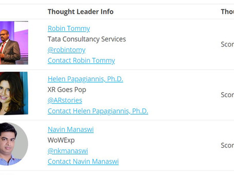 Ranked #1 in Top 50 Global Thought Leaders & Influencers on AR/VR!