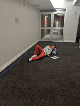 For research we taped off areas of the floor to see if our measurements were realistic
