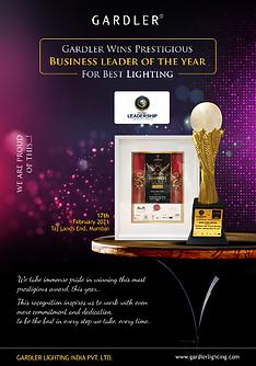 Gardler Lighting Business leader of the year award